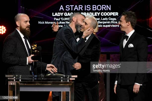 """Paul """"DJWS"""" Blair, Lukas Nelson, Mark Nilan Jr. And Benjamin Rice accepts the Best Compilation Soundtrack For Visual Media award onstage during the..."""