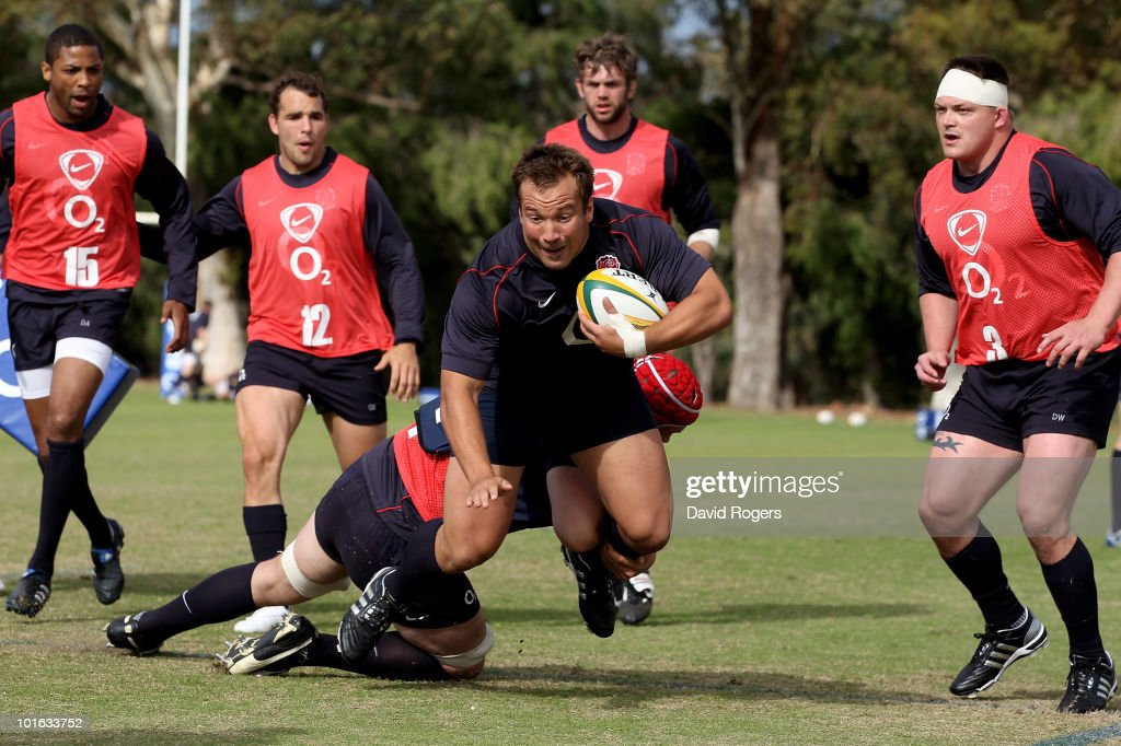 Paul Doran-Jones is tackled during a England rugby training session at McGillivray Oval on June 5, 2010 in Perth, Australia.