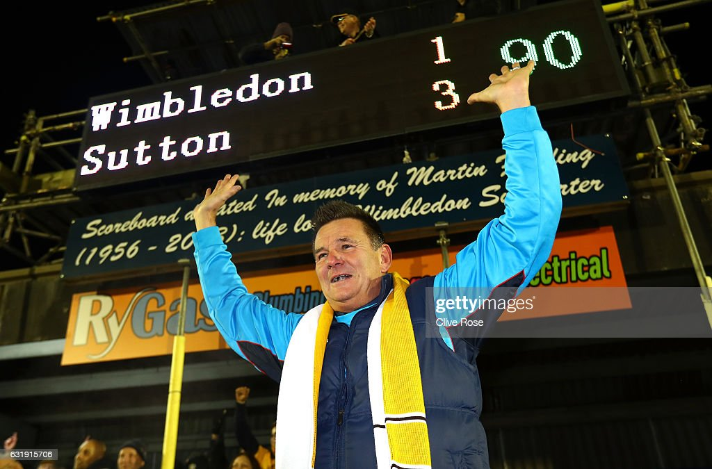 Paul Doswell, Manager of Sutton United celebrates victory after the Emirates FA Cup third round replay between AFC Wimbledon and Sutton United at The Cherry Red Records Stadium on January 17, 2017 in Kingston upon Thames, England.