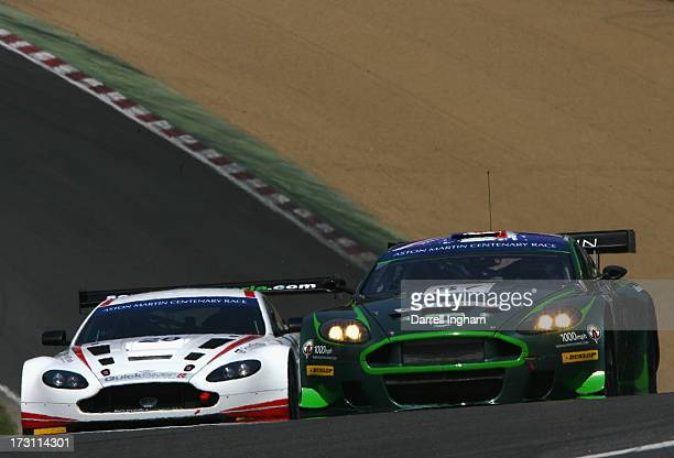Paul Drayson drives the Drayson Racing Aston Martin Vantage GT3 driven by John Gaw and Phil Dryburgh in the Aston Martin GT Centenary race during the...