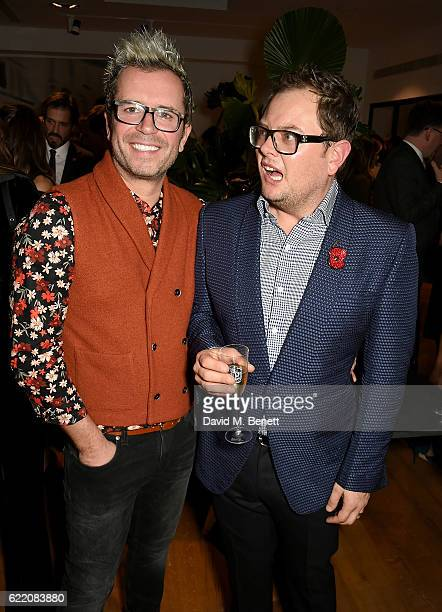 Paul Drayton and Alan Carr attend the anniversary party for Kelly Hoppen MBE celebrating 40 years as an Interior Designer at Alva Studios on November...
