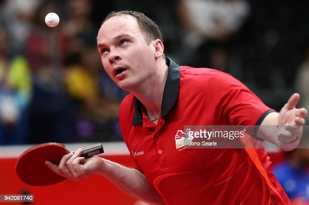 Paul Drinkhall of England competes during the Table Tennis men team round against Ghana on day one of the Gold Coast 2018 Commonwealth Games at...