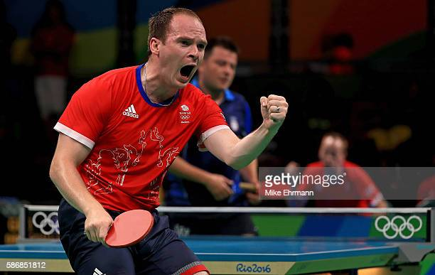 Paul Drinkhall of Great Britain plays a Men's Singles first round match against Aleksandar Karakasevic of Serbia on Day 1 of the Rio 2016 Olympic...