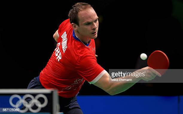Paul Drinkhall of Great Britain plays a Men's Singles second round match against Ning Gao of Singapore on Day 2 of the Rio 2016 Olympic Games at...