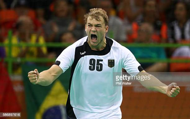 Paul Drux of Germany celebrates a goal during the Men's Preliminary Group B match between Sweden and Germany at on Day 2 of the Rio 2016 Olympic...