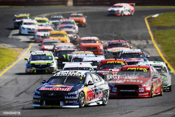 Paul Dumbrell drives the Red Bull Holden Racing Team Holden Commodore ZB leads at the start of race 24 for the Supercars Sandown 500 at Sandown...