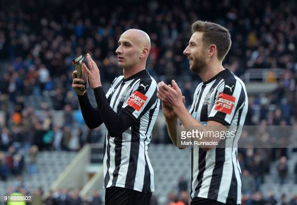 Paul Dummett and Jonjo Shelvey of Newcastle United all smiles at the final whistle as Newcastle won 10 during the Premier League match between...