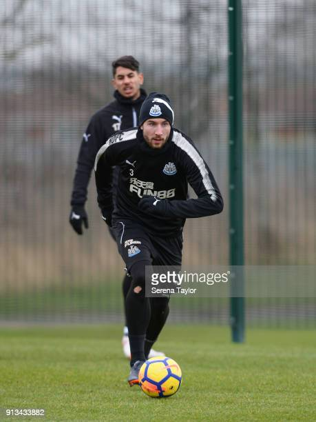 Paul Dummett controls the ball during the Newcastle United Training session at the Newcastle United Training Centre on February 2 in Newcastle upon...