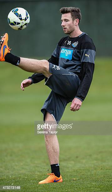 Paul Dummett kicks the ball into the air during a Newcastle United Training session at The Newcastle United Training Centre on May 14 in Newcastle...