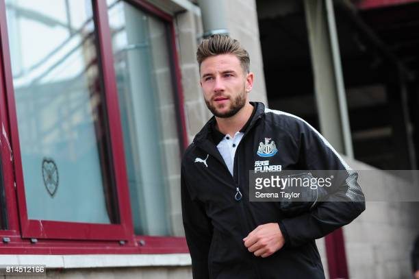 Paul Dummett of Newcastle arrives for the PreSeason Friendly between Heart of Midlothian and Newcastle United at the Tynecastle Stadium on July 14 in...