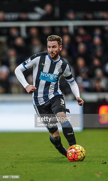 Paul Dummett of Newcastle controls the ball during the Barclays Premier League match between Newcastle United and Leicester City at StJames' Park on...