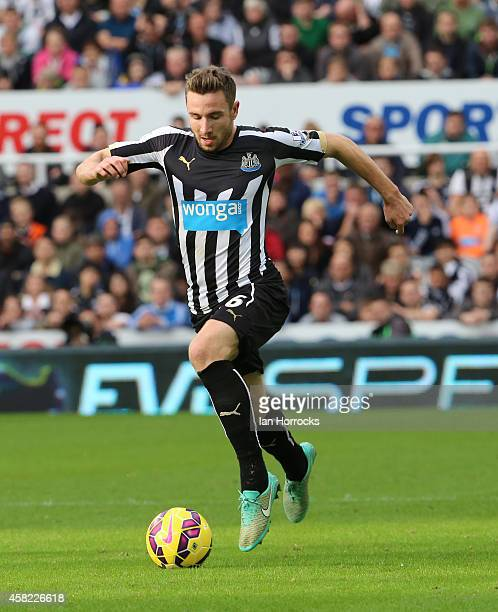 Paul Dummett of Newcastle during the Barclays Premier League match between Newcastle United and Liverpool at St James' Park on November 01 2014 in...