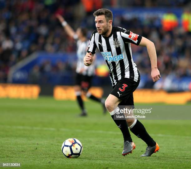Paul Dummett of Newcastle during the Premier League match between Leicester City and Newcastle United at The King Power Stadium on April 7 2018 in...