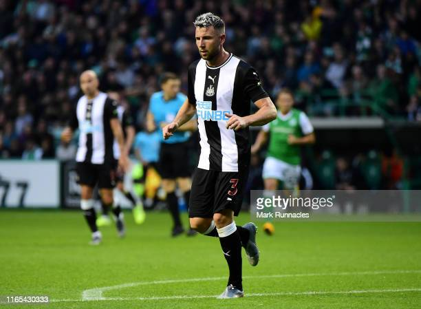 Paul Dummett of Newcastle in action during the PreSeason Friendly match between Hibernian FC and Newcastle United FC at Easter Road on July 30 2019...