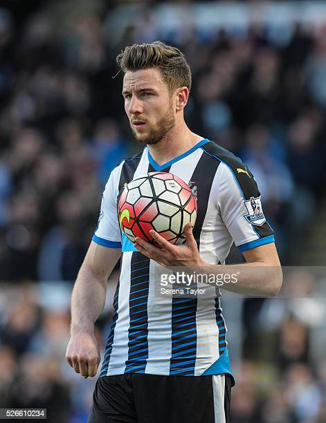 Paul Dummett of Newcastle looks to throw the ball into play during the Barclays Premier League match between Newcastle United and Crystal Palace at...