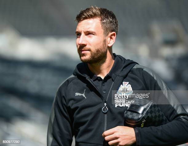 Paul Dummett of Newcastle United arrives for the Premier League Match between Newcastle United and Tottenham Hotspur at StJames' Park on August 13 in...