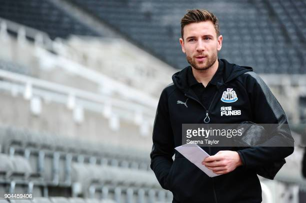 Paul Dummett of Newcastle United arrives for the Premier League match between Newcastle United and Swansea City at StJames' Park on January 13 in...