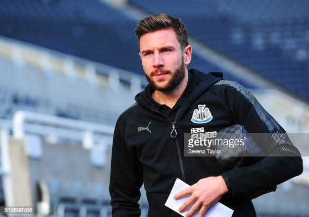 Paul Dummett of Newcastle United arrives for the Premier League match between Newcastle United and Manchester United at StJames' Park on February 11...