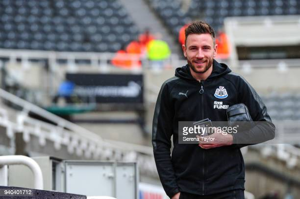 Paul Dummett of Newcastle United arrives for the Premier League Match between Newcastle United and Huddersfield Town at StJames' Park on March 31 in...