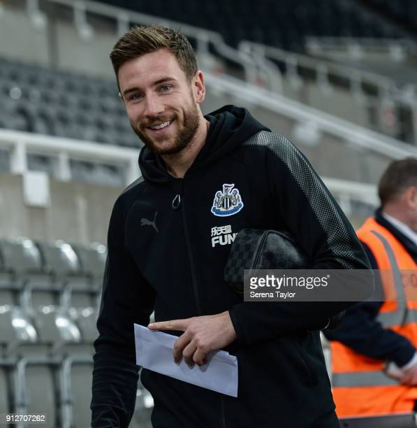 Paul Dummett of Newcastle United arrives prior to kick off of The Premier League match between Newcastle United and Burnley at StJames' Park on...