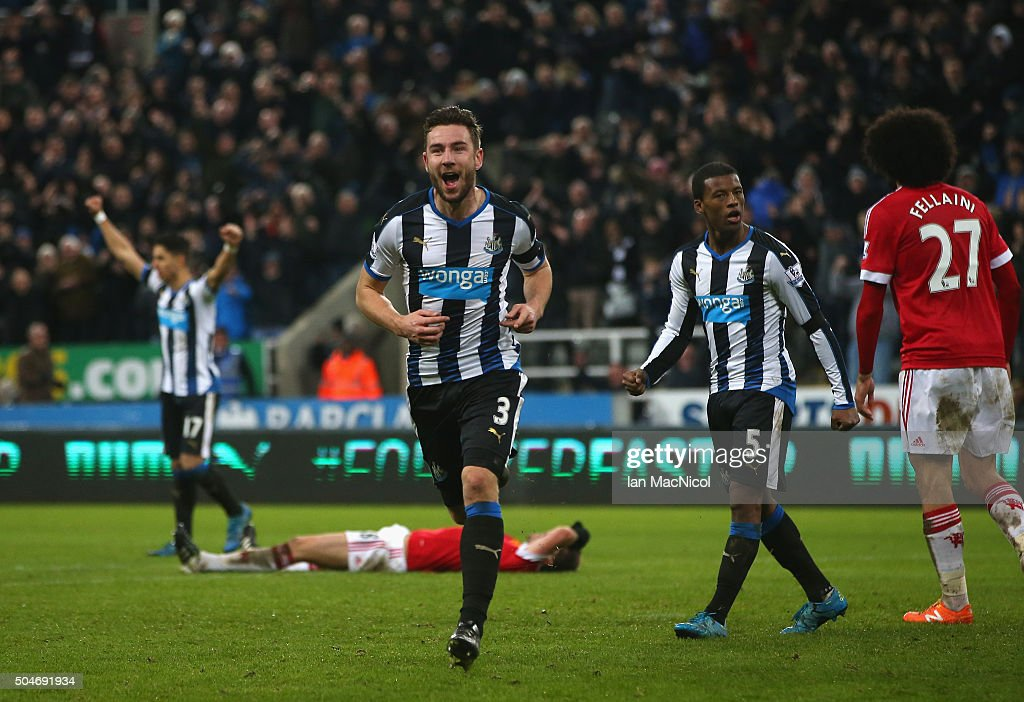 Paul Dummett of Newcastle United celebrates as he scores their third and equalising goal during the Barclays Premier League match between Newcastle United and Manchester United at St James' Park on January 12, 2016 at Newcastle upon Tyne, England.