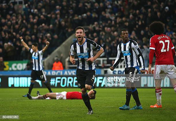 Paul Dummett of Newcastle United celebrates as he scores their third and equalising goal during the Barclays Premier League match between Newcastle...