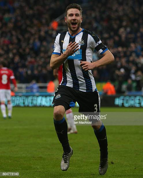Paul Dummett of Newcastle United celebrates scoring during the Barclays Premier League match between Newcastle and Manchester United at St James Park...