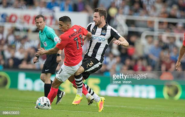 Paul Dummett of Newcastle United challenges Anthony Knockaert of Brighton during the Sky Bet Championship match between Newcastle United and Brighton...