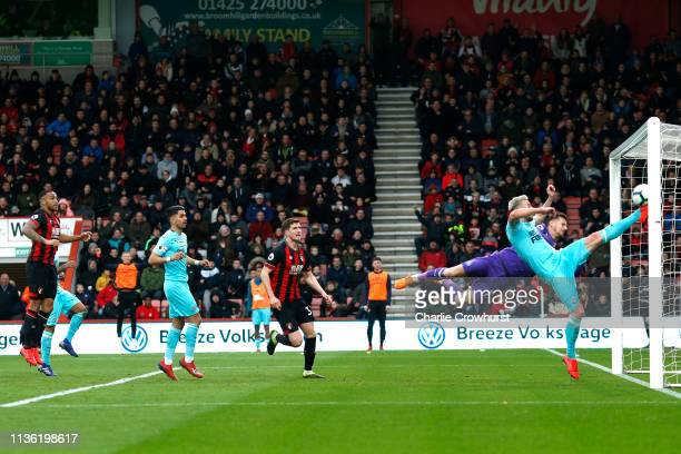 Paul Dummett of Newcastle United clears the ball off the line during the Premier League match between AFC Bournemouth and Newcastle United at...