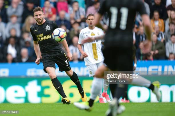 Paul Dummett of Newcastle United crosses the ball during the Pre Season Friendly match between Newcastle United and Hellas Verona at StJames' Park on...