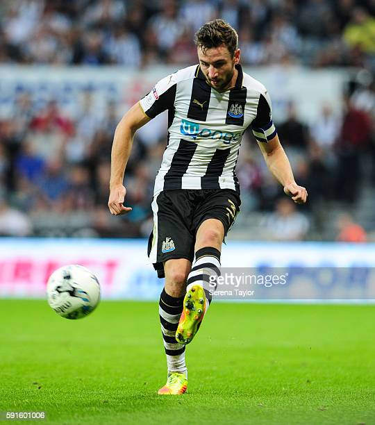 Paul Dummett of Newcastle United crosses the ball during the Sky Bet Championship match between Newcastle United and Reading at StJames' Park on...