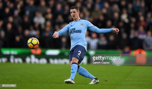 Paul Dummett of Newcastle United during the Premier League match between Stoke City and Newcastle United at Bet365 Stadium on January 1 2018 in Stoke...