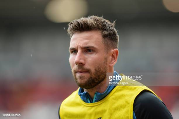 Paul Dummett of Newcastle United FC warms up during the Pre Season Friendly between Rotherham United and Newcastle United at AESSEAL New York Stadium...