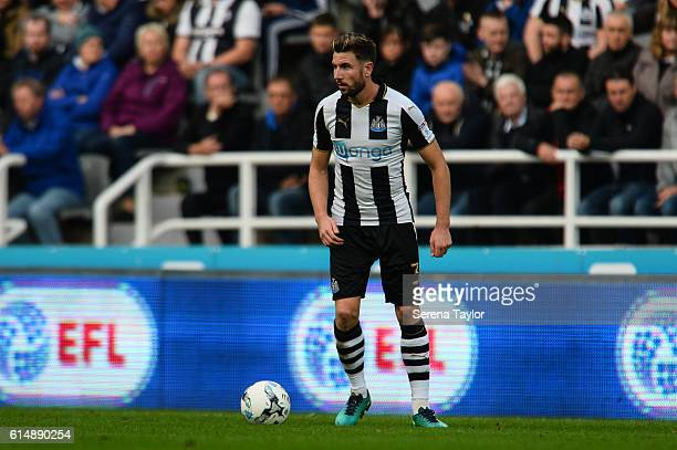 Paul Dummett of Newcastle United looks to pass the ball during the Sky Bet Championship Match between Newcastle United and Brentford at StJames' Park...