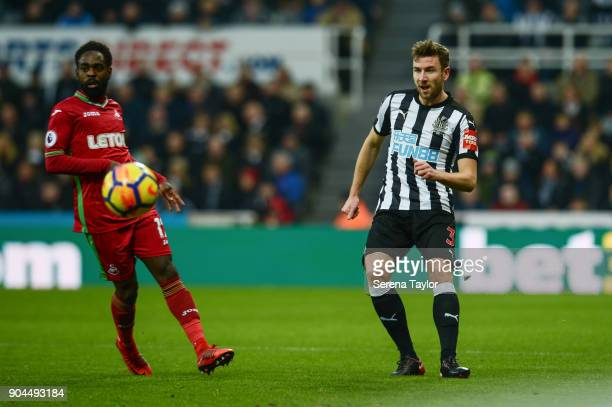 Paul Dummett of Newcastle United passes the ball during the Premier League match between Newcastle United and Swansea City at StJames' Park on...