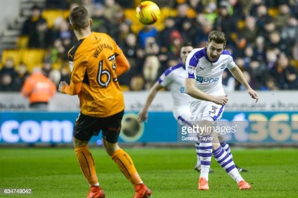 Paul Dummett of Newcastle United passes the ball during the Sky Bet Championship match between Wolverhampton Wanderers and Newcastle United at...