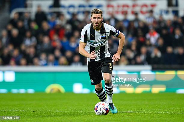 Paul Dummett of Newcastle United runs with the ball during the EFL Cup Fourth Round Match between Newcastle United and Preston North End at StJames'...