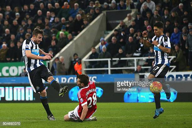 Paul Dummett of Newcastle United scores their third and equalising goal during the Barclays Premier League match between Newcastle United and...