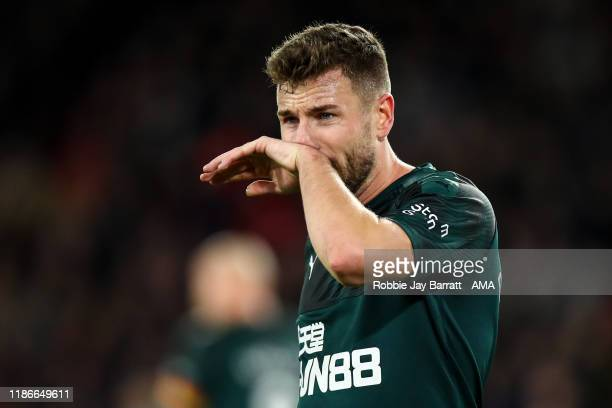 Paul Dummett of Newcastle United uring the Premier League match between Sheffield United and Newcastle United at Bramall Lane on December 5, 2019 in...
