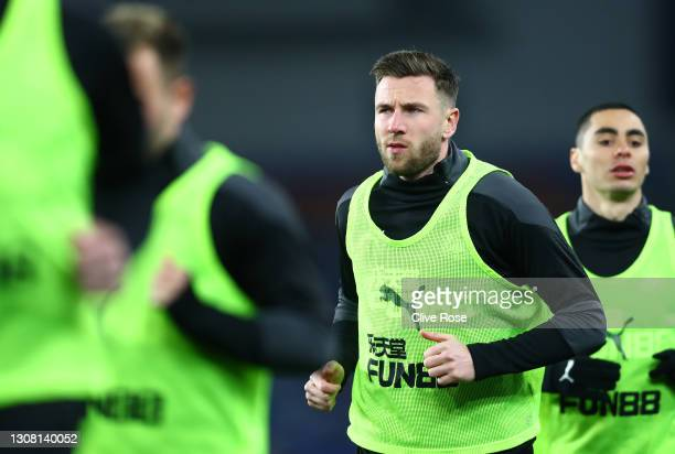 Paul Dummett of Newcastle United warms up prior to the Premier League match between Brighton & Hove Albion and Newcastle United at American Express...
