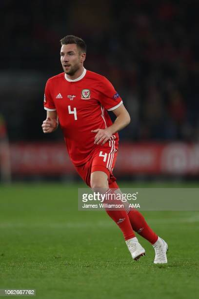 Paul Dummett of Wales during the UEFA Nations League B group four match between Wales and Denmark at Cardiff City Stadium on November 16 2018 in...