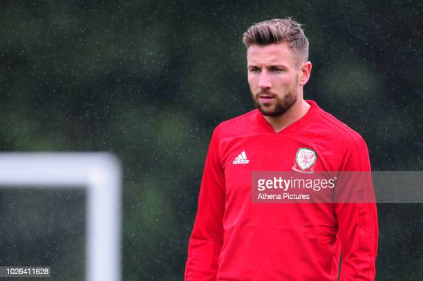 Paul Dummett Of Wales during the Wales Training Session at The Vale Resort on September 3 2018 in Cardiff Wales