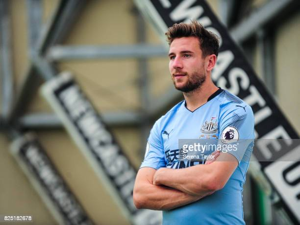 Paul Dummett poses during the Newcastle United Media Photo Call Day at the Newcastle United Training ground on July 31 in Newcastle upon Tyne England