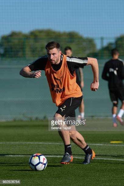 Paul Dummett runs with the ball during the Newcastle United Training Session at Hotel La Finca on March 15 in Alicante Spain