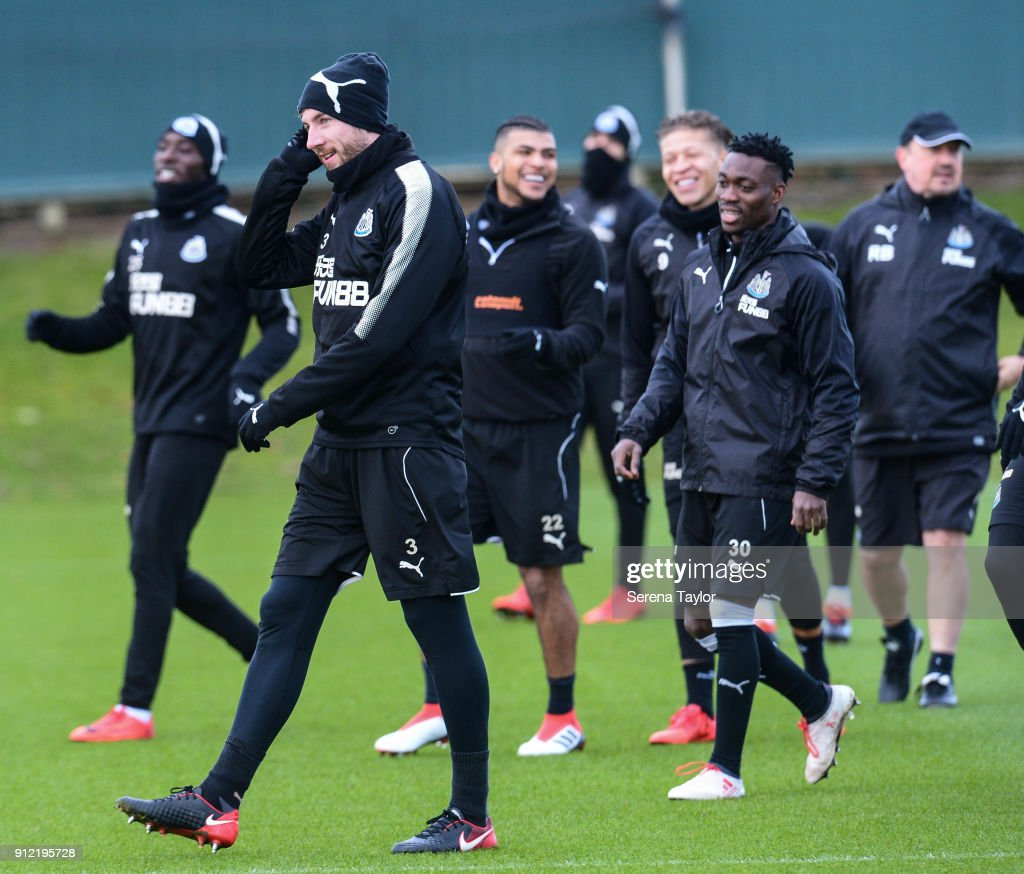 Paul Dummett smiles after warming up during The Newcastle United Training session at The Newcastle United Training Centre on January 30, 2018, in Newcastle, England.