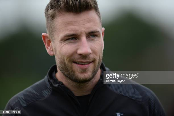 Paul Dummett smiles during the Newcastle United Training Session at the Newcastle United Training Centre on October 31, 2019 in Newcastle upon Tyne,...