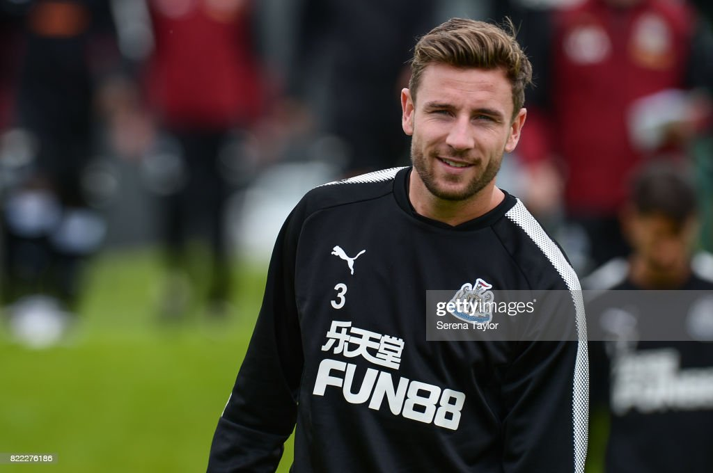 Paul Dummett smiles during the Newcastle United Training session at the Newcastle United Training ground on July 25, 2017, in Newcastle upon Tyne, England.