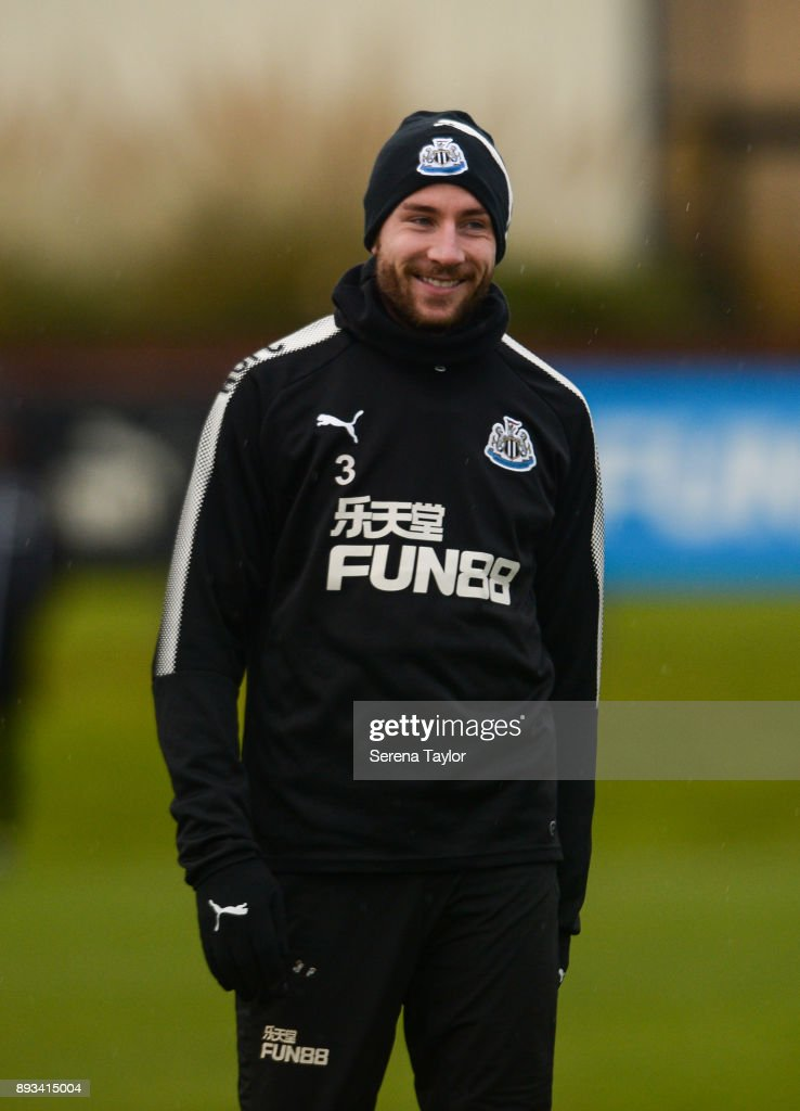 Paul Dummett smiles during the Newcastle United training session at the Newcastle United Training Centre on December 15, 2017, in Newcastle upon Tyne, England.