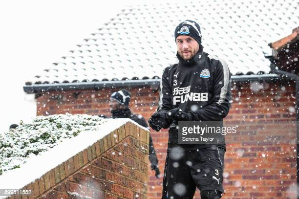 Paul Dummett walks down the stairs during the Newcastle United Training session at the Newcastle United Training Centre on December 29 in Newcastle...