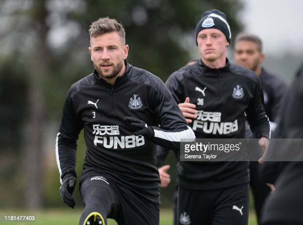 Paul Dummett warms up during the Newcastle United Training Session at the Newcastle United Training Centre on October 16 2019 in Newcastle upon Tyne...